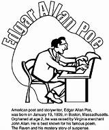 Edgar Poe Allan Coloring Pages Boston Crayola Poems Celtics Famous American Poet Raven Poets Orn Visit Poem Drawings Basketball sketch template