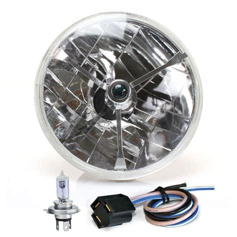 h4 len test tri bar 7 quot inch halogen lens assembly w h4 bulb and each autoloc custom ebay