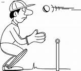 Cricket Wicket Keeper Clipart Cartoon Coloring Pages Sports Cliparts Clip Library Games Clipground Ground Fingers sketch template