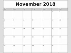 November 2018 Printable Calendar yearly printable calendar