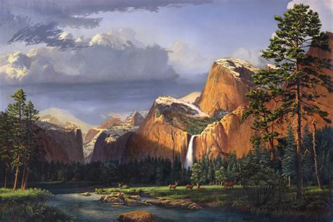 deer  meadow stream mountains waterfall landscape
