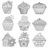 Coloring Cupcakes Pages Adult Cakes Printable Adults Nine Cup Cupcake Cake Background Assorted Justcolor Print Vector Satisfy Together Assortment Holiday sketch template