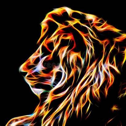 Lion Fractal Flames Wire Glowing Heat Line