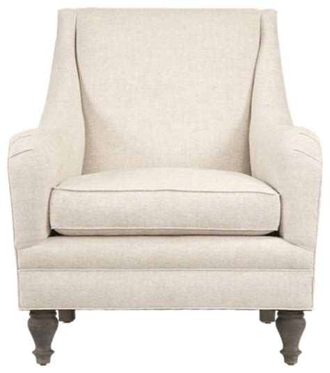 Yves Linen Accent Chair, Ivory  Contemporary Armchairs