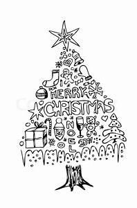 Weihnachtsmotive Schwarz Weiß : hand gezeichneten weihnachtsbaum auf dem wei en hintergrund isoliert vektorgrafik colourbox ~ Buech-reservation.com Haus und Dekorationen