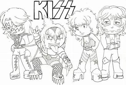 Kiss Coloring Band Pages Rock Metal Drawing