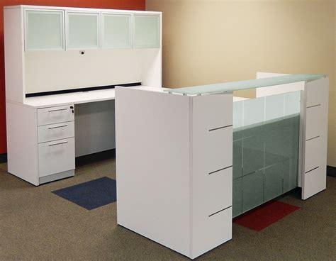 reception desk hutch u shaped glass front reception desk w hutch
