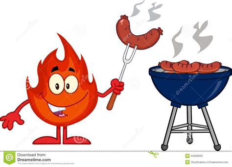 Flame Cartoon Mascot Character With Sausage On Fork Cook
