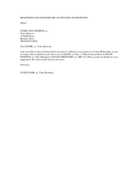 Job Offer Withdrawal Letter Employer Database - Letter Templates