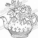 Teapot Rubber Posies Stamp Coloring Pages Stamps Template sketch template