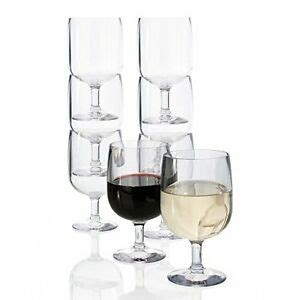 Plastic Barware by Us Acrylic Plastic Stackable Wine Glass 8 Glasses Set