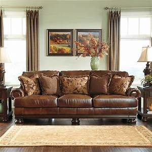 Signature designs by ashley 39hutcherson39 harness brown for Ashley leather sofa