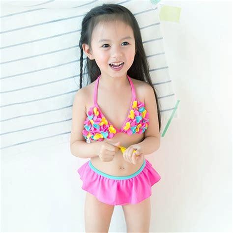 Retail Cute Children's Swimsuit Girls Flower Pink Bikini