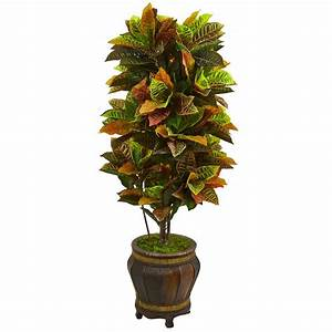 Nearly, Natural, Real, Touch, 5, 5, Ft, Indoor, Croton, Artificial, Plant, In, Decorative, Planter