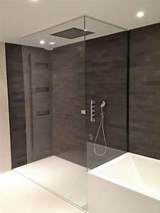 paroi de douche en verre salle de bain pinterest With porte de douche coulissante avec mosaique pate de verre salle de bain