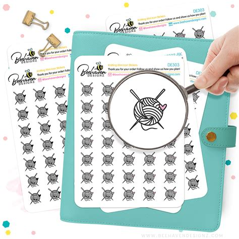 Knitting Mini Icons Stickers Functional Planner Stickers