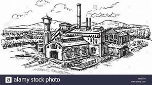 Industrial plant, factory sketch. Vintage building vector ...