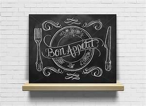 Tableau Craie Cuisine : tableau bon app tit cuisine ardoise tableau craie d corations murales par artdeco28 ~ Teatrodelosmanantiales.com Idées de Décoration