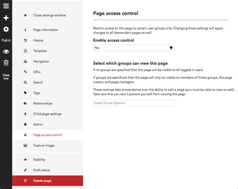 page access control boomcms