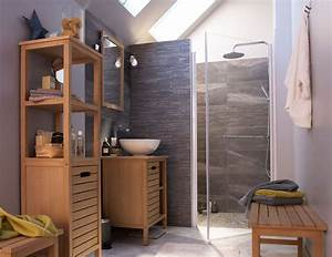 salle de bains bois des photos d39inspiration cote maison With porte de douche coulissante avec meuble salle de bain bois scandinave