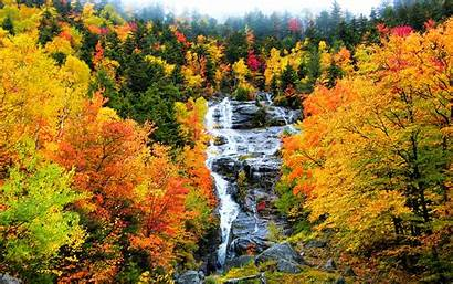 Scenery Fall Autumn Mountain Waterfall Wallpapers Backgrounds