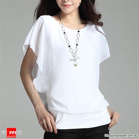 womens white blouses womens flouncing batwing sleeve crew neck ol chiffon