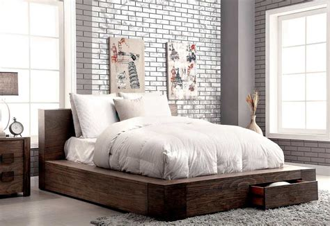storage bed  rustic finish fa contemporary bedroom