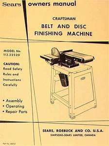 Craftsman 6 U0026quot  Belt And Disc Sander 113 22520 Operation