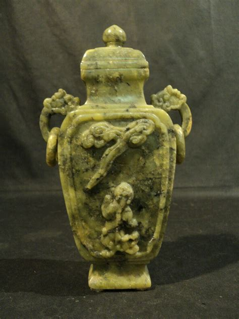 Where To Purchase Soapstone by Vintage Carved Green Soapstone Lidded Vase