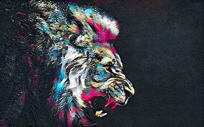 Lion Abstract Colorful Artistic Wallpapers Artwork Digital