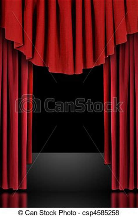Red theatre stage draped curtains. Red vertical draped ...