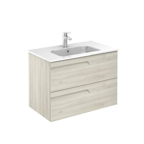 vitale 800mm 2 drawer wall hung vanity unit light oak