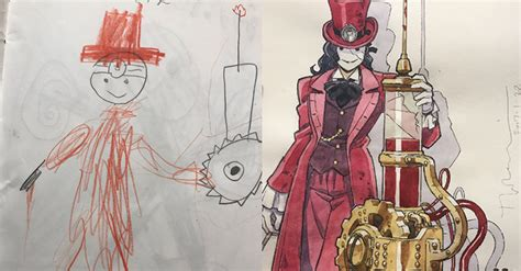 Awesome Drawing Anime Illustrator Turns His Sons Drawings Into Awesome Anime