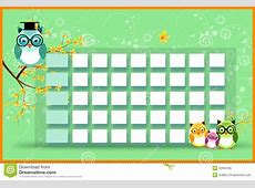 Blank Timetable With Owls Stock Illustration Image 42952185