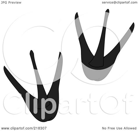 royalty free rf clipart illustration of a pair of black and white penguin tracks by pams