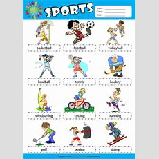Sports Esl Printable Worksheets For Kids 1