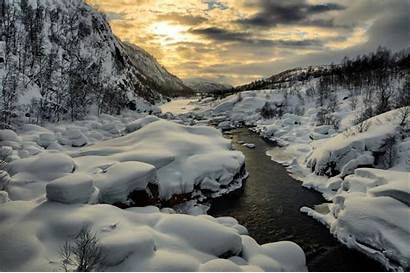 Stream Winter Snow River Mountain Background Wallpapers