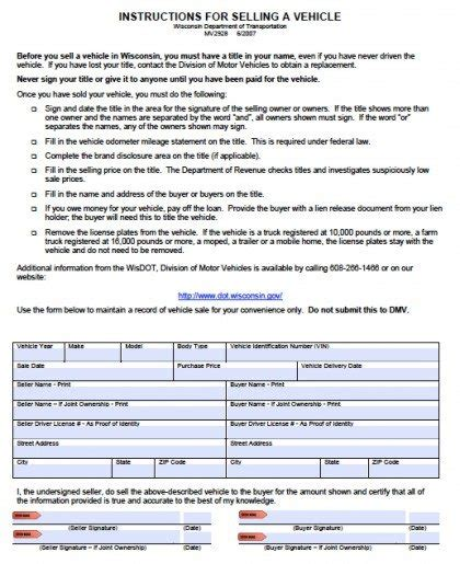 Boat Registration Numbers Wi by Free Wisconsin Dmv Vehicle Bill Of Sale Form Pdf