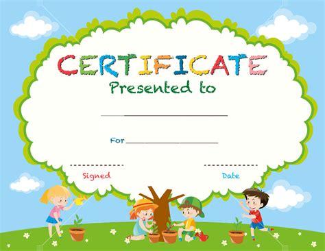 certificate template  kids planting trees illustration