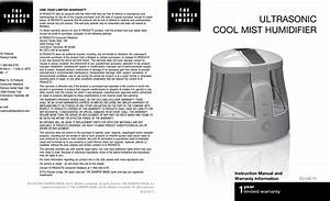 Sharper Image Humidifier The Ultrasonic Cool Mist Users Manual