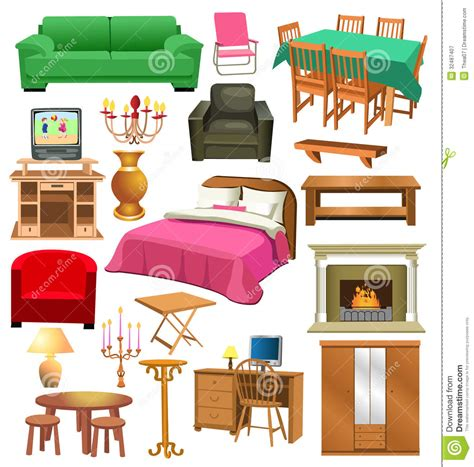Living Room Furniture Stock Vector Illustration Of