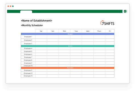 monthly work schedule template shifts