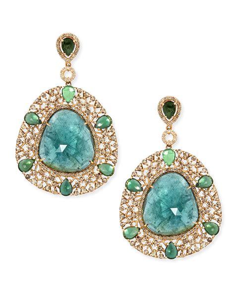 bavna  yellow gold shield earrings  diamonds