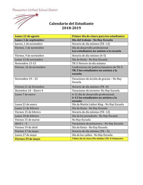 calendars miscellaneous pleasanton unified school district