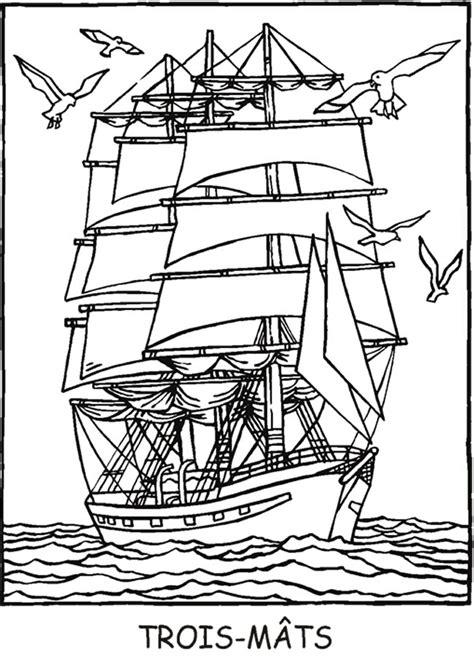 Dessin Bateau Trois Mats Facile by Dessins 224 Colorier A La Mer Coloriages Pour Enfants