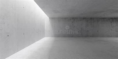 Empty Interior Concrete Ceiling Dark Hallway Walls