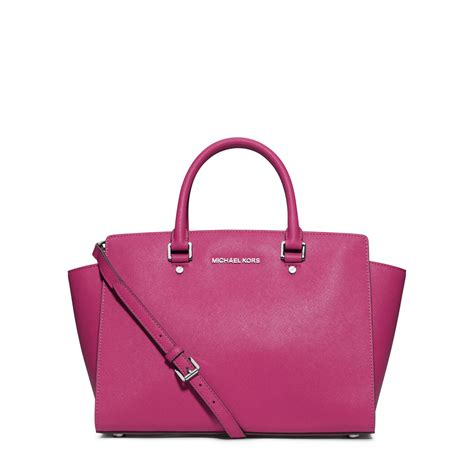 michael kors selma large saffiano satchel in pink
