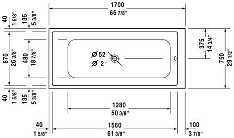 width of tub durastyle bathtub 700231 duravit