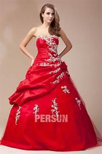 robe rouge mariee bustier coeur ornee de fleur et dapplique With robe de mariée rouge avec alliance or blanc