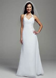 david39s bridal sheath georgette wedding dress with halter With wedding gown preservation davids bridal